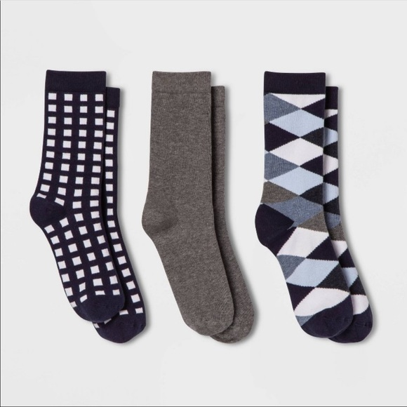 3 Pack Argyle Crew Socks - A New Day - NWT